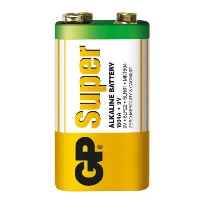 Батарейка щелочная 6F22 (6LF22, 1604) GP Super Alkaline 9V
