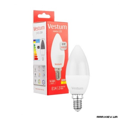 Светодиодная лампа Vestum LED C37 6W 220V E14